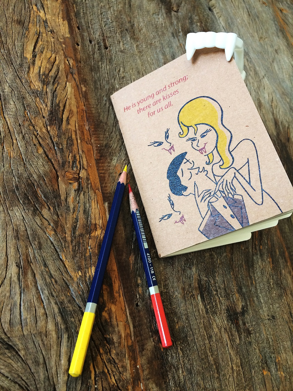 Dracula Notebook by At it Again! with pencils and vampire teeth