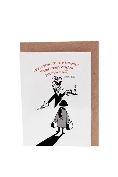 Fun Dracula's Castle greeting card based on Bram Stoker's Dracula by At it Again! Literary card made in Ireland.