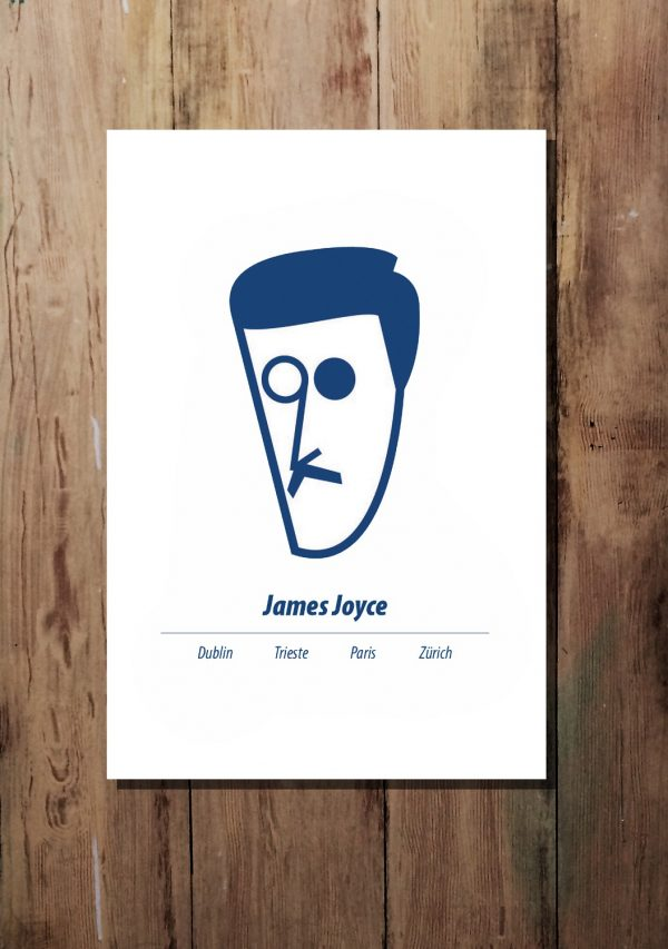 Blue A3 James Joyce print by At it Again!