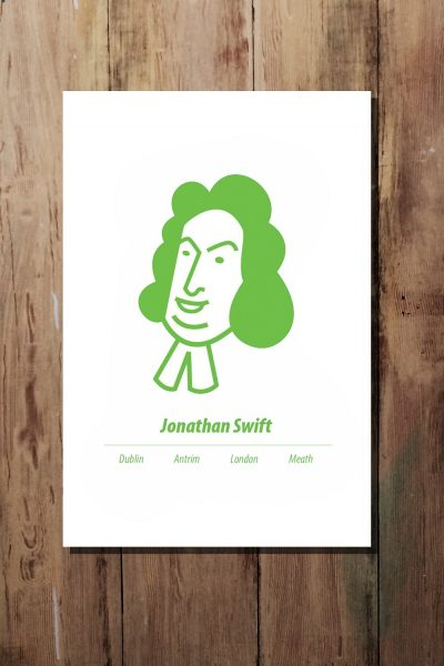 Green A3 Jonathan Swift Print by At it Again!