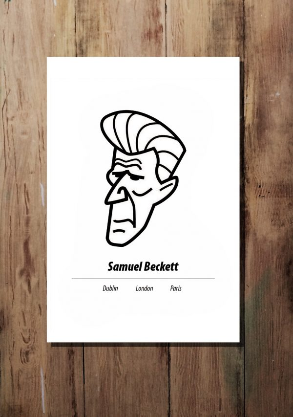 Black on white A3 Samuel Beckett print by At it Again!