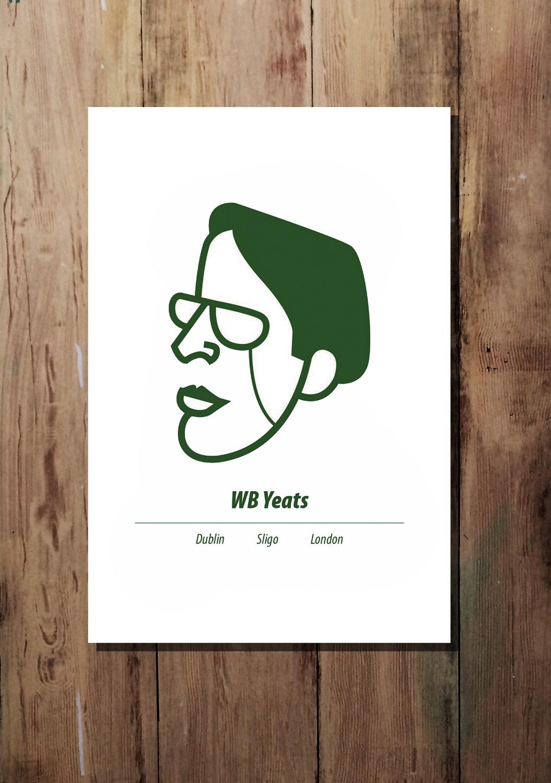 Dark Green A3 WB Yeats print by At it Again!