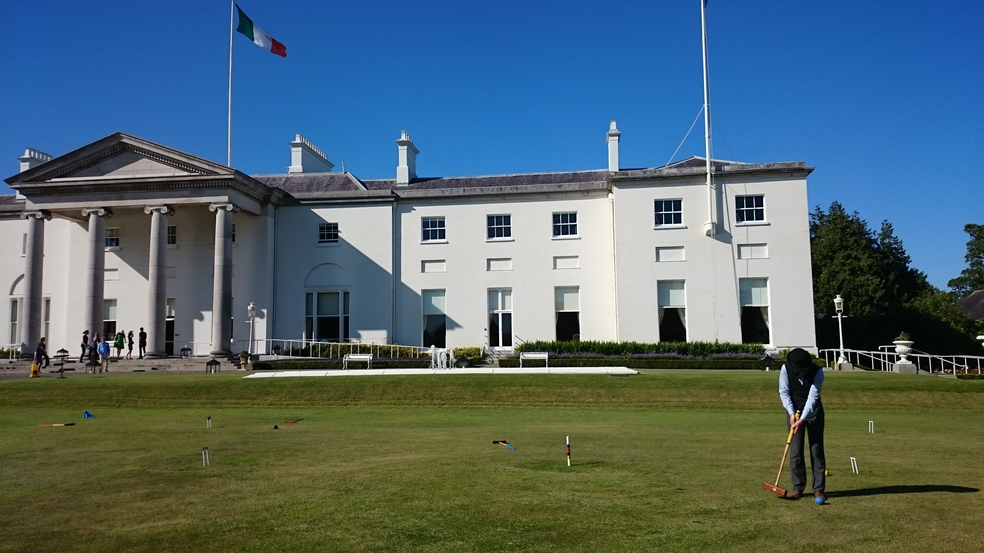 Niall playing croquet on the lawn of Áras an Uachtaráin Bloomsday 2017