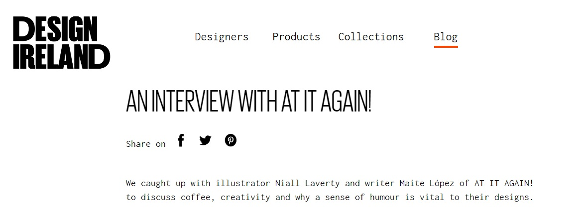 Design Ireland Blog Interview with At it Again!
