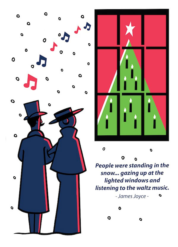 James Joyce Dubliners Christmas Card Waltz Front by At it Again!