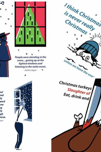 Literary Christmas Cards inspired by James Joyce by At it Again!