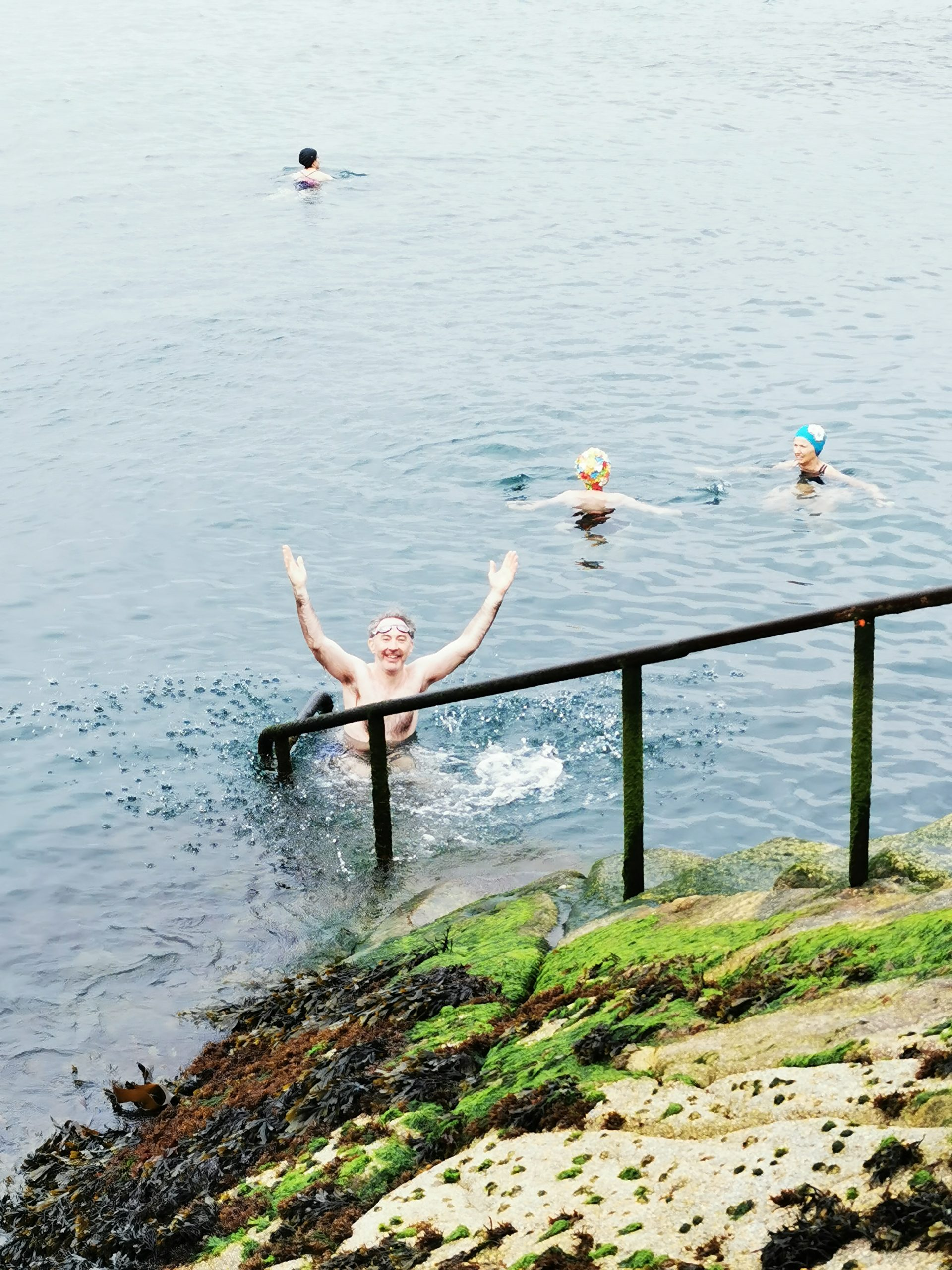At it Again! taking a dip in the Forty Foot for Bloomsday 2021